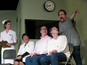 Andy Affleck as Randall Patrick McMurphy with Laura Gibb (Nurse Ratchett), Judy Kerkhoff (Dr.  Spivey), Robert Silva (Harding), & Zach Gibb (Billy Bibbit)